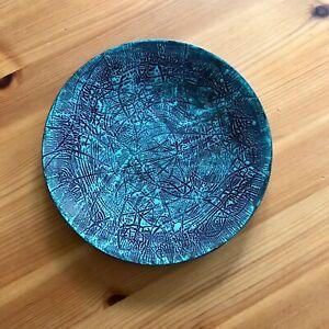 "6"" Vintage Art Green Black Enamel Copper Plate unsigned Mid Century"