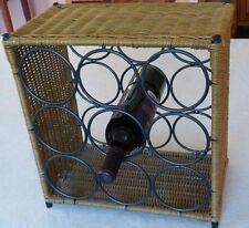 "Vintage Decorative 9 Wine Bottle Table Bar Wicker Metal Rack Holder 14.5""x13.5"""