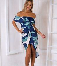 Ladies Off Shoulder Floral Leaf Pattern Dress Bardot Size 8/10 Navy Turquoise
