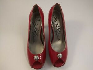 **Brighton Womens Size 8 Red 4 Inch Peep Toe Heels