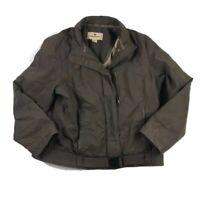 Woolrich Womens Jacket Brown Zip Up Fleece Lined Mock Neck Snap Buttons Pocket L