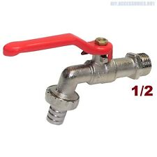 """1/2"""" BSP Lever Garden Outside Water Tap Ball Type Valve Red Handle Hose Plug"""