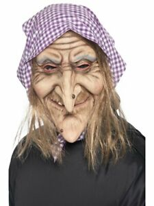 Latex Old Lady Mask Wig Woman Head Costume Wrinkled Skin Long Hair Adult Size