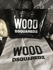 DSQUARED2 Wood Tote Bag Patent Black Bag with dust bag. BRAND NEW