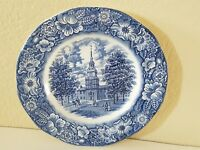 LIBERTY BLUE STAFFORDSHIRE COLONIAL SCENES INDEPENDENCE HALL PLATE HOMEDECOR 10""