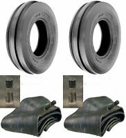 TWO (2) 7.50-16 7.50X16 750-16 750X16 3 Rib F-2 Tractor Tires & Tubes 8PLY Rated