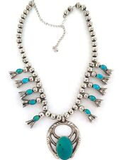 NAVAJO / ZUNI. STUNNING STERLING SILVER TURQUOISE SQUASH BLOSSOM NECKLACE. 104G