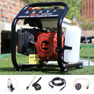 Power Petrol Pressure Washer 110Bar Jet 3HP Engine Cleaner w/8m Hose Barrel Feed
