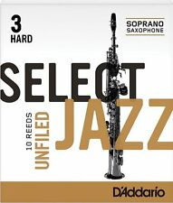 1 Box of 10 D'Addario (Rico) Select Jazz Reeds Unfiled. Soprano Sax. 3-Hard (3H)
