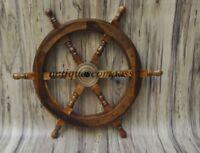 "18""Nautical Wooden Ship Steering Wheel Pirate Decor Wood Brass Fishing Wall gIFT"