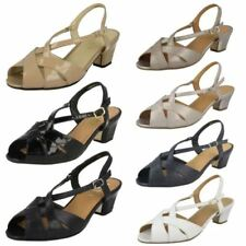 100% Leather Sandals Wide (E) Heels for Women