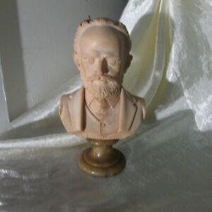 VINTAGE A GIANNELLI ALABASTER SCULPTURE / BUST  OF TCIAIKOVSKI ON A MARBLE BASE