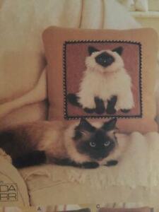 Vogue Sewing Pattern 7445 Three Plush Cat Pillows Uncut Home Decorating