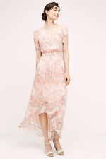 NEW Anthropologie HD in Paris Sidra Chiffon Dress Pink Floral Ruffle Sleeve HiLo
