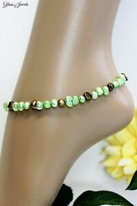 Glass Stone Jewellery Gold Anklet Pearls Ethno Boho Hippie Length 28 CM #K048