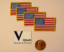 US USA American Flag Patch SMALL 1 x 1 1/2 GOLD Border **LOT of 4**