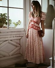 NWT Self-Portrait Cream and Red Dot Satin Printed Dress sz UK 12