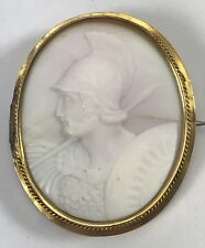 Antique Roman Soldier CAMEO Set in 14k Mount Frame Brooch Pin