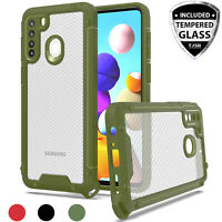For Samsung Galaxy A21 Case Heavy Duty Carbon Fiber Hard Cover +Tempered Glass