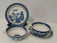 4 piece Booths Real Old Willow A8025 Soup Bowl with Handles and Saucer Set