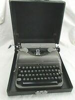 VINTAGE Remington Rand DELUXE Two-Tone Gray Typewriter w/Case
