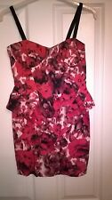 Stunning multi red fitted corset party prom dress. River Island size 8