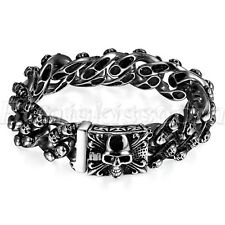 Men's Biker Heavy Stainless Steel Fleur De Lis  Skull Bracelet Curb Chain Link