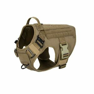 ICEFANG Tactical Dog Harness with 2X Metal Buckle,Working Dog MOLLE Vest with...