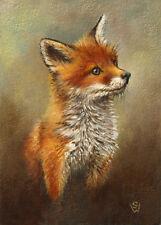 Sue Warner original ACEO oil painting, miniature, 'Juvenile Fox' UNFRAMED