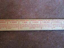 Wonder Bread Ruler Nutritional Info Side Vintage Collectible Wood