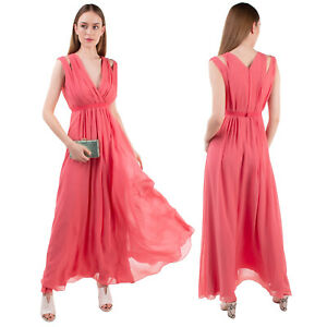 RRP€655 MAX MARA Silk Maxi Empire Line Dress Size 36 / XS Cut Out Pleated V Neck