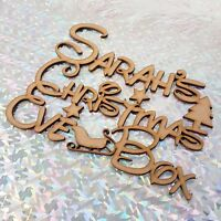Personalised Christmas at the 'ANY NAME' Box Topper plaque MDF Wood Xmas Tree F2