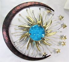 Sun Face with Moon and Stars metal w/blue glass insert wall art
