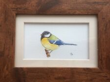 Original Framed Watercolour Painting Birds : Great Tit By Lisa EVANS