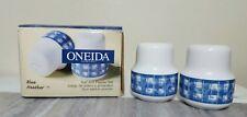 Rare 1998 ONEIDA BLUE HEATHER Table Trends Salt & Pepper Shakers Porcelain HTF