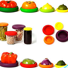4*Silicone Vegetable Savers Food Huggers Fruit Covers Reusable Jars Bottles lid
