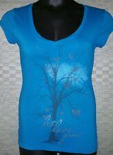 Designer graphic sexy sassy blue tee shirt Stranded Clubbing Beach W's Med (c12)