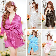 Women Robe Bathrobes+G-string Thongs Nightgown Sexy  Pajamas Sleepwear