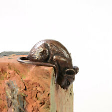 Bronze climbing mouse sculpture, over the edge figurine, solid bronze mouse
