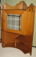 "ANTIQUE CHESTNUT FLOOR STAND WALL HUNG CORNER CUPBOARD CA 1885-1910 36""H"