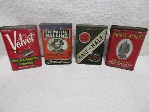 vintage Half & Half, Walter Raleigh, Prince Albert, Velvet tobacco tins lot A