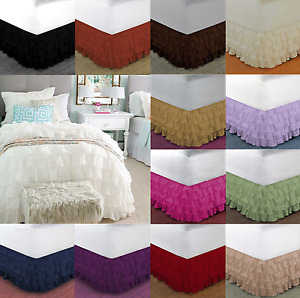 "1pc SOLID PLAIN DUST RUFFLE BED SKIRT 20"" INCH DROP GYPSY Multi LAYERS Easy Fit"