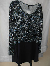 Yong Kim Print & Plain Dip Back Tunic, Chiffon Panels Size 12 Navy, NEW