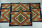 "New Set of 6 Placemats Southwestern Design ""Muska Jaquard"" 13X19 red blue green"
