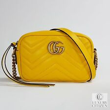 NEW AUTHENTIC GUCCI GG MARMONT MATELASSE Yellow Leather Shoulder Mini Bag