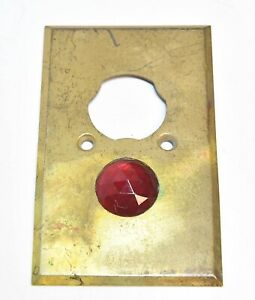 VINTAGE INDUSTRIAL JEWELED BRASS OUTLET SWITCH PLATE COVER