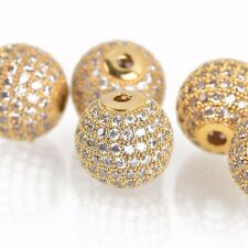1 Gold Micro Pave' Round Bead w/ Cubic Zirconia Crystals, 12mm, bme0422