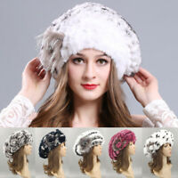 Women Elastic Beret Hat Warm Cap Rex Rabbit Fur Knitted Fashion Winter Girls New