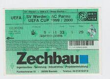 ORIG. TICKET UEFA CUP 1999/00 fine ricercato Brema-AC PARMA 1/8 finale! RARO