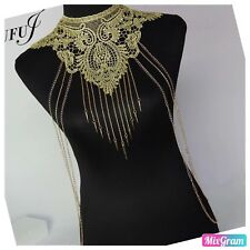 Boho Gold Vest Body Chain Sequins Vest Necklace Bikini Summer Beach Club Party